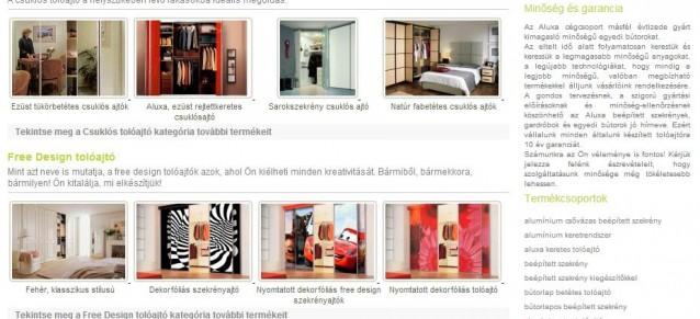 weboldal készítés - aluxa tolóajtó - weboldalak-keszitese.hu